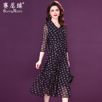 Dress Spring 2021 Purple L XL 2XL 3XL 4XL 5XL Mid length dress singleton  three quarter sleeve commute V-neck High waist Abstract pattern Socket A-line skirt routine 35-39 years old Type H Sunny right lady Bow printing 81% (inclusive) - 90% (inclusive) nylon