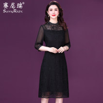 Dress Spring 2021 black M L XL 2XL 3XL Mid length dress singleton  three quarter sleeve commute Crew neck middle-waisted Solid color Socket A-line skirt routine 35-39 years old Type H Sunny right lady Embroidered button lace S21CQ35225 More than 95% silk Mulberry silk 100%