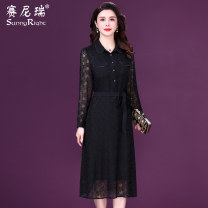 Dress Spring 2021 black M L XL 2XL 3XL Mid length dress singleton  Long sleeves commute Polo collar High waist Solid color Socket A-line skirt routine 35-39 years old Type H Sunny right Simplicity Lace up button More than 95% silk Mulberry silk 100%