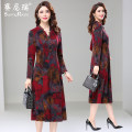 Dress Autumn of 2019 Decor L XL 2XL 3XL 4XL 5XL Mid length dress singleton  Long sleeves commute other middle-waisted Decor Socket A-line skirt routine Others 35-39 years old Type A Sunny right Retro Pleated printing 51% (inclusive) - 70% (inclusive) polyester fiber