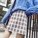 skirt Spring 2021 S,M,L,XL Blue, yellow Short skirt Versatile High waist A-line skirt lattice Type A 18-24 years old 81% (inclusive) - 90% (inclusive) other Other / other other