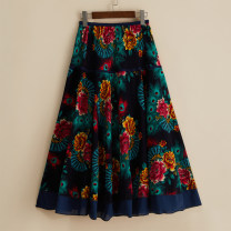 skirt Summer 2020 Average size 116, 35, 14, 10, 16, 58, red feather, blue feather, 74, 73, 33, 32, 34, 15, 11, orange safflower, 24, 17, red fan, 112, 118, 111, caipin, 56 Mid length dress commute Natural waist A-line skirt Broken flowers Type A 51% (inclusive) - 70% (inclusive) other hemp