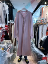 Dress MomMoment Long sleeve Korean version have more cash than can be accounted for autumn V-neck Solid color Pure cotton (95% and above) Pink - no return, dark gray - no return, black - no return One size fits all