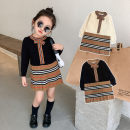 Dress Black spot, apricot spot female Other / other 90cm,100cm,110cm,120cm,130cm,140cm Cotton 90% other 10% spring and autumn Britain Long sleeves stripe cotton other 12 months, 18 months, 2 years old, 3 years old, 4 years old, 5 years old, 6 years old, 7 years old Chinese Mainland