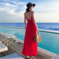 Dress Summer of 2019 Red, white, black S,M,L longuette singleton  Sleeveless Sweet Crew neck middle-waisted Solid color zipper Big swing other camisole 25-29 years old Type A Open back, zipper More than 95% Chiffon polyester fiber Bohemia
