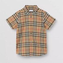 shirt khaki Other / other neutral 130cm,140cm,150cm,160cm,165cm,170cm summer Britain lattice cotton Lapel and pointed collar Cotton 100%