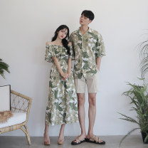 Dress Spring 2020 Green white men's pants Female s female m female l male m male l male XL male XXL longuette singleton  Short sleeve commute One word collar High waist Broken flowers Socket A-line skirt Lotus leaf sleeve Breast wrapping 18-24 years old DISOO printing DE19079 30% and below nylon