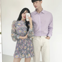 Dress Summer of 2019 Purple blue white men's trousers Female s female m female l male m male l male XL male XXL Middle-skirt singleton  Long sleeves Sweet Crew neck High waist Decor other One pace skirt bishop sleeve Others 18-24 years old DISOO DE19035 More than 95% Chiffon polyester fiber