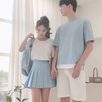 T-shirt Summer 2017 Short sleeve Crew neck Straight cylinder Regular routine commute cotton 86% (inclusive) -95% (inclusive) 18-24 years old Korean version other Solid color DISOO DE1731 Cotton 95% polyurethane elastic fiber (spandex) 5% Pure e-commerce (online only)
