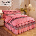 Bedding Set / four piece set / multi piece set Others Embroidered quilting Solid color Camille Others 4 pieces other Bedskirt bedspread