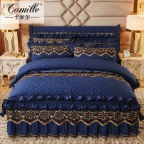 Bedding Set / four piece set / multi piece set Polyester (polyester fiber) Embroidered quilting Solid color 18x27 Camille Polyester (polyester fiber) 4 pieces other Bedskirt bedspread other