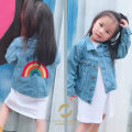 Plain coat Other / other neutral 80cm 90cm 100cm 110cm 120cm 130cm 140cm Rainbow Embroidered Denim Jacket spring and autumn leisure time Single breasted There are models in the real shooting routine nothing other