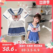 suit Other / other blue 90cm,100cm,110cm,120cm,130cm,140cm female summer Cartoon Short sleeve + skirt 2 pieces Thin money There are models in the real shooting Socket nothing Cartoon animation cotton Class B Cotton 100% Three, four, five, six, seven, eight Chinese Mainland