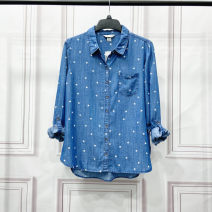Women's large Spring 2021, summer 2021 blue Large XL, large L, x, 1X, 2x, 3x shirt singleton  Sweet thin Cardigan Long sleeves Shape, solid color Medium length Denim, cotton Three dimensional cutting 25-29 years old Button 51% (inclusive) - 70% (inclusive) college