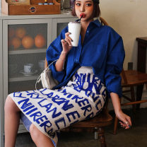 skirt Spring 2020 Average size blue longuette Versatile High waist A-line skirt letter Type A 18-24 years old 91% (inclusive) - 95% (inclusive) knitting cotton 251g / m ^ 2 (including) - 300g / m ^ 2 (including)