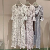Dress Spring 2021 White, lavender, bluish grey S, M Mid length dress Short sleeve Sweet V-neck Broken flowers puff sleeve Other / other solar system