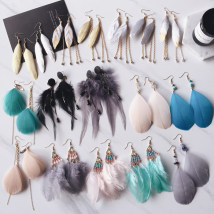 Earrings Feather RMB 1.00-9.99 Other / other brand new female Bohemia Fresh out of the oven