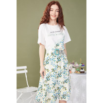 Dress Summer 2020 flower S M L Mid length dress singleton  Short sleeve commute Crew neck middle-waisted other Socket routine Others 25-29 years old Type X Artka Lace up print More than 95% other Other 100%