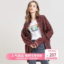 shirt Dark red S M L Autumn of 2019 other 96% and above Long sleeves Versatile Medium length stand collar Single row multi button routine lattice 25-29 years old Straight cylinder Artka SA15096Q printing Other 100%