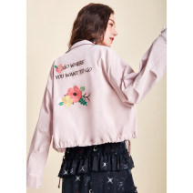 short coat Winter of 2019 S M L Pearl powder Long sleeves have cash less than that is registered in the accounts routine singleton  easy commute routine stand collar zipper Plants and flowers 25-29 years old Artka 96% and above Embroidery WA25_ AK001C other Other 100%