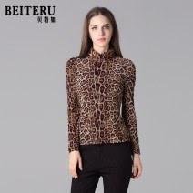Middle aged and old women's wear Autumn of 2018 Leopard Print M L fashion T-shirt Self cultivation singleton  Leopard Print 50-59 years old Socket thin High collar have cash less than that is registered in the accounts routine YSQS1571-1 Bateru Gauze Lycra Lycra 30% and below Long sleeves