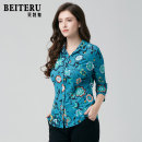 Middle aged and old women's wear Spring of 2019 blue L XL XXL XXXL fashion shirt Self cultivation singleton  Big flower 40-49 years old Cardigan thin square neck routine routine YBCS5078-1 Bateru Button polyester Polyester 89.8% polyurethane elastic fiber (spandex) 10.2% Single breasted