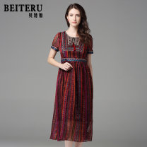 Middle aged and old women's wear Summer of 2019 gules M L XL XXL ethnic style Dress Self cultivation singleton  Retro Design 40-49 years old Socket thin Crew neck routine Bateru Bandage polyester Polyester 100% 96% and above Same model in shopping mall (sold online and offline) zipper longuette