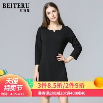 Middle aged and old women's wear Autumn of 2018 black L XL XXL XXXL fashion Dress Self cultivation singleton  Solid color 40-49 years old Socket moderate routine YIQA3893-1 Bateru zipper polyester Polyester fiber 94.3% polyurethane elastic fiber (spandex) 5.7% 91% (inclusive) - 95% (inclusive) zipper