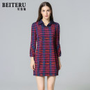 Middle aged and old women's wear Autumn of 2018 red-checkered pattern M L XL XXL fashion Dress Self cultivation singleton  lattice 50-59 years old Socket moderate Polo collar routine YWQA2988-1 Bateru zipper polyester Polyester 92% polyurethane elastic fiber (spandex) 8% zipper Middle-skirt Polyester