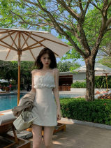 Dress Spring 2021 XS,S,M,L Short skirt singleton  Sleeveless commute One word collar High waist Solid color zipper A-line skirt other camisole 18-24 years old Type A Korean version Ruffles, lace More than 95% other other