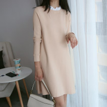 Dress Autumn 2020 Cream apricot , Cream Pink XS,S,M,L longuette singleton  Long sleeves commute Crew neck Solid color Socket A-line skirt routine 25-29 years old Type A DEAR JANE'S COLLECTION Splicing 31% (inclusive) - 50% (inclusive) knitting