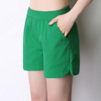 Casual pants S,M,L,XL,2XL,3XL,4XL Summer of 2019 shorts Wide leg pants Natural waist commute Thin money 18-24 years old 31% (inclusive) - 50% (inclusive) hemp Korean version pocket cotton