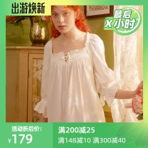 Nightdress Chelnlseey / Chen Xi White (larger size can be smaller) 155(S),160(M),165(L) Retro Middle sleeve pajamas longuette summer Solid color youth square neck cotton Lotus leaf edge More than 95% pure cotton M18331S125 200g and below