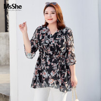 Women's large Spring 2021 XL 2XL 3XL 4XL 5XL 6XL shirt singleton  commute Self cultivation thin Socket three quarter sleeve Broken flowers lady V-neck Medium length polyester fiber MS she / mu Shan Shiyi 25-29 years old Bandage 96% and above Polyester 100% Pure e-commerce (online only)