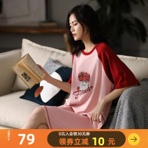 Nightdress Multi Latin America S M L XL XXL Sweet Short sleeve Leisure home Middle-skirt summer Plants and flowers youth Crew neck cotton printing More than 95% pure cotton 200g and below Summer 2020 Cotton 100% Pure e-commerce (online only)