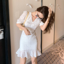 Dress Summer 2020 white Xs, s, m, l, [Madame Island song] brand original non market currency Short skirt singleton  Short sleeve commute V-neck High waist other zipper Ruffle Skirt puff sleeve Others 25-29 years old Type X Island song lady Simplicity 51% (inclusive) - 70% (inclusive) other cotton