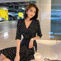 Dress Summer 2020 Black dots S. M, l, [Madame shimaga] brand original non market currency Mid length dress singleton  three quarter sleeve commute V-neck High waist Dot other Irregular skirt routine Others 25-29 years old Type A Island song lady Simplicity Lace up, asymmetric, strap More than 95%