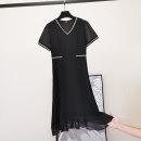 Dress Summer 2021 black M,L,XL,2XL,3XL Mid length dress singleton  Short sleeve commute V-neck Socket A-line skirt routine Type A Other / other