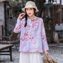 shirt Purple, dark pink leaf flower, light pink big flower, royal blue flower, khaki bottom fan flower Average size Spring 2021 hemp 51% (inclusive) - 70% (inclusive) Long sleeves commute Regular stand collar Single row multi button routine Continuation of painting Y21120C1