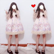 Dress Spring of 2019 Jsk suspender dress with two pieces inside S,M,L Short skirt Two piece set Sleeveless Sweet High waist Hand painted Princess Dress camisole Type X Other / other Bow, fungus, lace, print Lolita