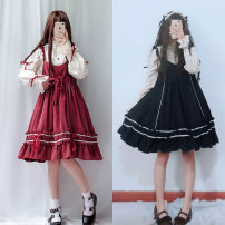 Dress Spring of 2019 S,L Mid length dress singleton  Long sleeves Sweet stand collar High waist Solid color Three buttons Princess Dress puff sleeve Type A Other / other Bow, Ruffle Lolita