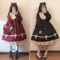 Dress Winter of 2018 S,M,L Mid length dress singleton  Long sleeves Sweet stand collar High waist Solid color Socket Princess Dress bishop sleeve Splicing other cotton Lolita