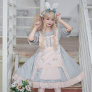 Dress Summer of 2019 Light blue, light pink S,M,L Mid length dress singleton  Short sleeve Sweet Doll Collar High waist Solid color bishop sleeve Others 18-24 years old Printing / dyeing 81% (inclusive) - 90% (inclusive) other other Lolita