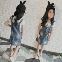 Dress Washed denim female Other / other The recommended height is 90-100cm for size 100, 100-105cm for Size 110, 110-115cm for Size 120, 120-125cm for Size 130 and 130cm for size 140 Cotton 68% polyester 32% summer Korean version Strapless skirt Solid color Denim Denim skirt Large pocket strap skirt