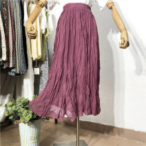 skirt Summer 2020 Average size Black, purple, white, apricot longuette Versatile High waist Pleated skirt Solid color Type A 18-24 years old Fold, asymmetry, wave