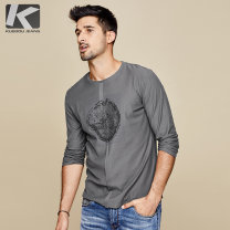 T-shirt Fashion City Grey white routine M/170 L/175 XL/180 XXL/185 XXXL/190 Kuegou / cool clothes Long sleeves Crew neck standard Other leisure spring UT -0325 Cotton 95% polyurethane elastic fiber (spandex) 5% youth routine Simplicity in Europe and America other Autumn of 2019 Plants and flowers