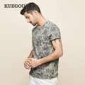 T-shirt Fashion City Khaki routine S/165 M/170 L/175 XL/180 XXL/185 XXXL/190 Kuegou / cool clothes Short sleeve Crew neck standard Other leisure summer HT-2530 Cotton 100% youth routine American leisure Knitted fabric Summer 2020 Xiaomanhua printing cotton Plants and flowers No iron treatment
