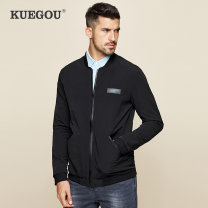 Jacket Kuegou / cool clothes Youth fashion black M/170 L/175 XL/180 XXL/185 thin Self cultivation Other leisure spring RW-2067 Polyamide fiber (nylon) 92% polyurethane elastic fiber (spandex) 8% Long sleeves Wear out stand collar Exquisite Korean style youth routine Zipper placket Rib hem Solid color