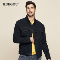 Jacket Kuegou / cool clothes Fashion City Black grey S/165 M/170 L/175 XL/180 XXL/185 XXXL/190 routine Self cultivation Other leisure spring KW-2988 Cotton 72% polyester 27% polyurethane elastic fiber (spandex) 1% Long sleeves Wear out Lapel Exquisite Korean style youth routine Single breasted Denim