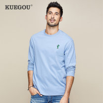 T-shirt Fashion City Haze blue routine M/170 L/175 XL/180 XXL/185 Kuegou / cool clothes Long sleeves Crew neck standard daily spring PT-1286 Cotton 100% youth routine Simplicity in Europe and America other Autumn of 2019 Plants and flowers Embroidery cotton The thought of writing washing